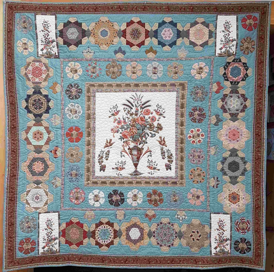 Komplettsatz Paper Pieces für den Quilt Las Rosas de mi Madre, ganzer Quilt