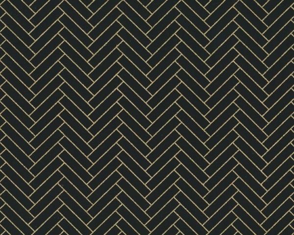 Stoff, Camelot NIGHTFALL Fischgrät-Parkett-Muster schwarz / gold
