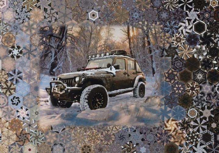 Stoffpaket: 7 Panels Jeep in the Wild - Black von Riley Blake Lisc Collections