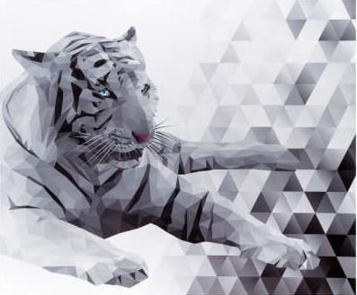 Panel Majestic White Tiger Digitaldruck Paneel von Deborah Edwards für Northcott Fabrics
