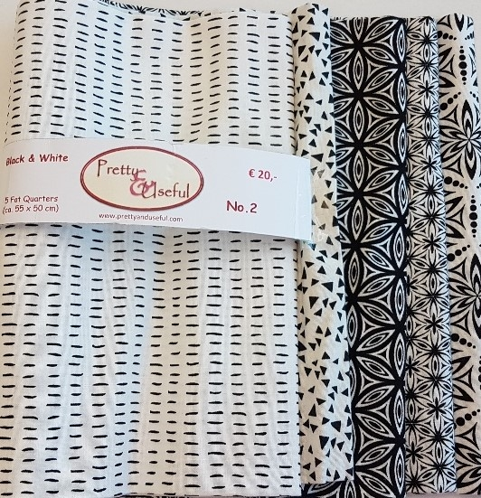 Fat Quarter Package (5 FQ) black & white