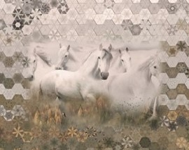 Stoffpaket: 7 Panels Call of the wild - horses Digitaldruck Paneel von Hoffman Fabrics