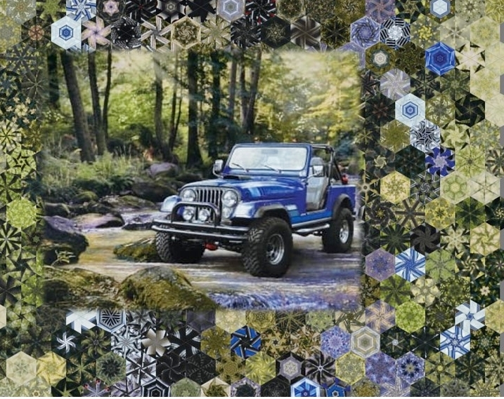 Stoffpaket: 7 Panels Jeep in the Wild - Blue von Riley Blake Lisc Collections