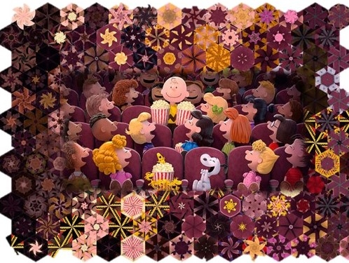 Stoffpaket: 7 Panels Popcorn & Peanuts Digitaldruck Paneel von Quilting Treasures