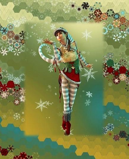 Stoffpaket: 7 Panels Santas Helpers 1