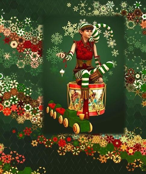Stoffpaket: 7 Panels Santas Helpers 2 Rubin Design Studios for Equilter