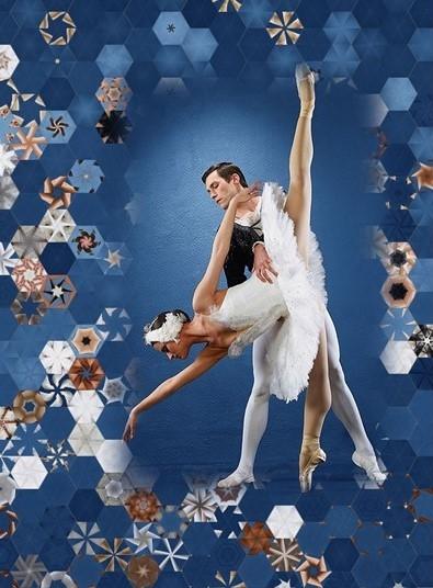 Stoffpaket: 7 Panels Ballet Dancers - Schwanensee 2 Rubin Design Studios for Equilter
