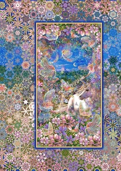 Stoffpaket: 7 Panels Unicorns & Fairies von Liz Dillon für Quilting Treasures