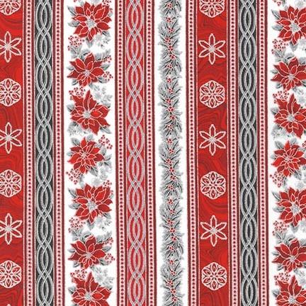 Robert Kaufman Holiday Flourish 11 - Bordüre rot-grau-silber