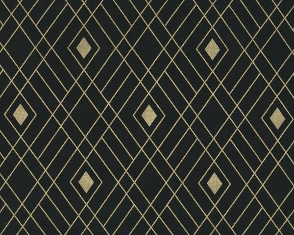 Stoff, Camelot NIGHTFALL Rauten-Muster schwarz / gold