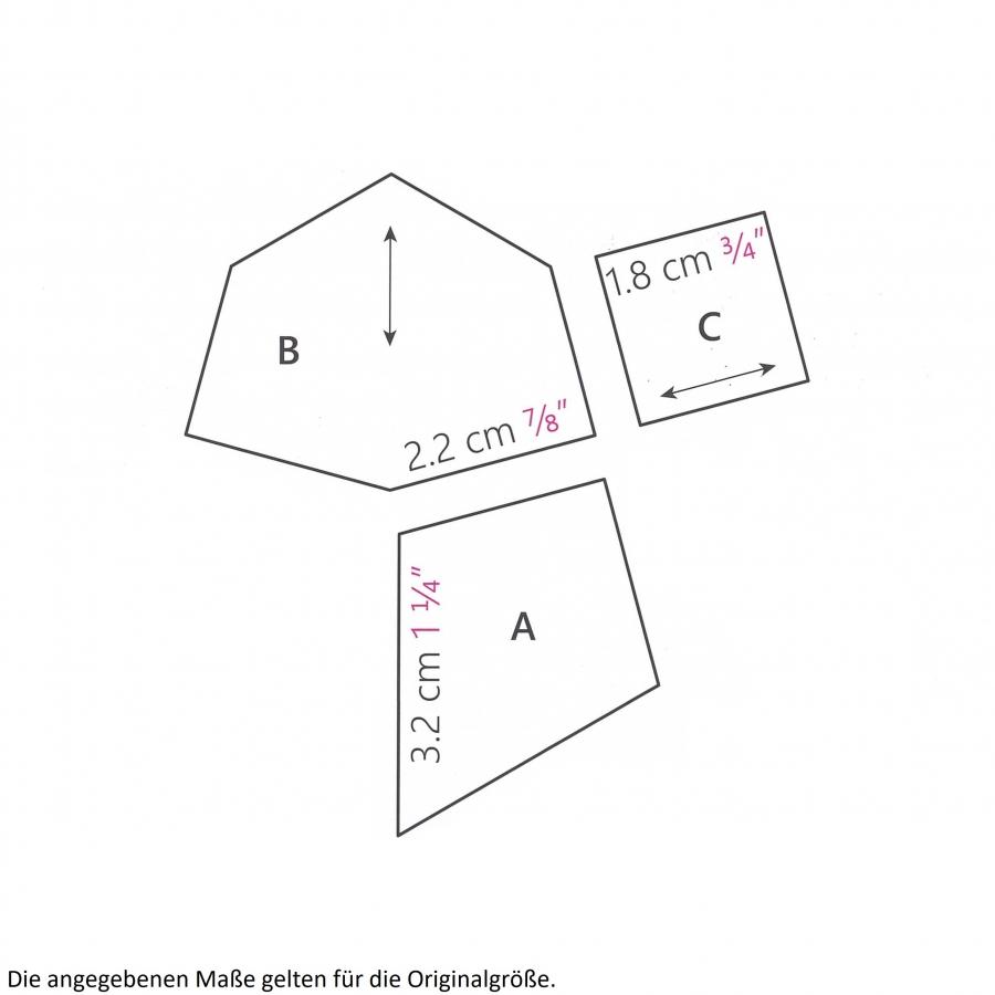 Komplettsatz Paper Pieces für den Quilt Late Bloomers aus Millefiori 4, ganzer Quilt
