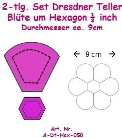 Acrylschablonenset 2tlg. Dresdner Teller-Blüte um 1/2 inch Hexagon