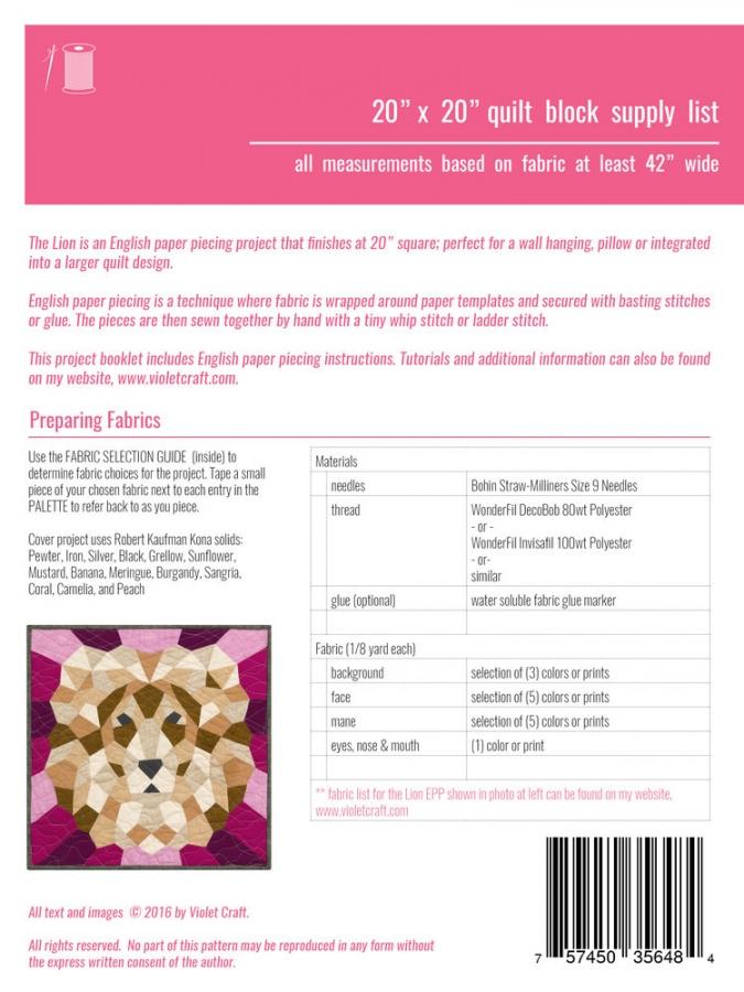 Violet Craft: DER LÖWE, English Paper Piecing