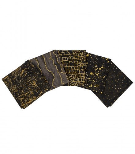 Fat Quarter Package (5 FQ) Black Metallic Gold