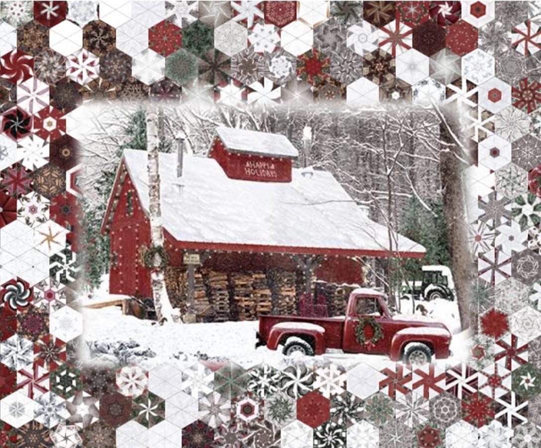 Stoffpaket: 7 Panels Winters Wings - Forest Digitaldruck von Hoffman Fabrics