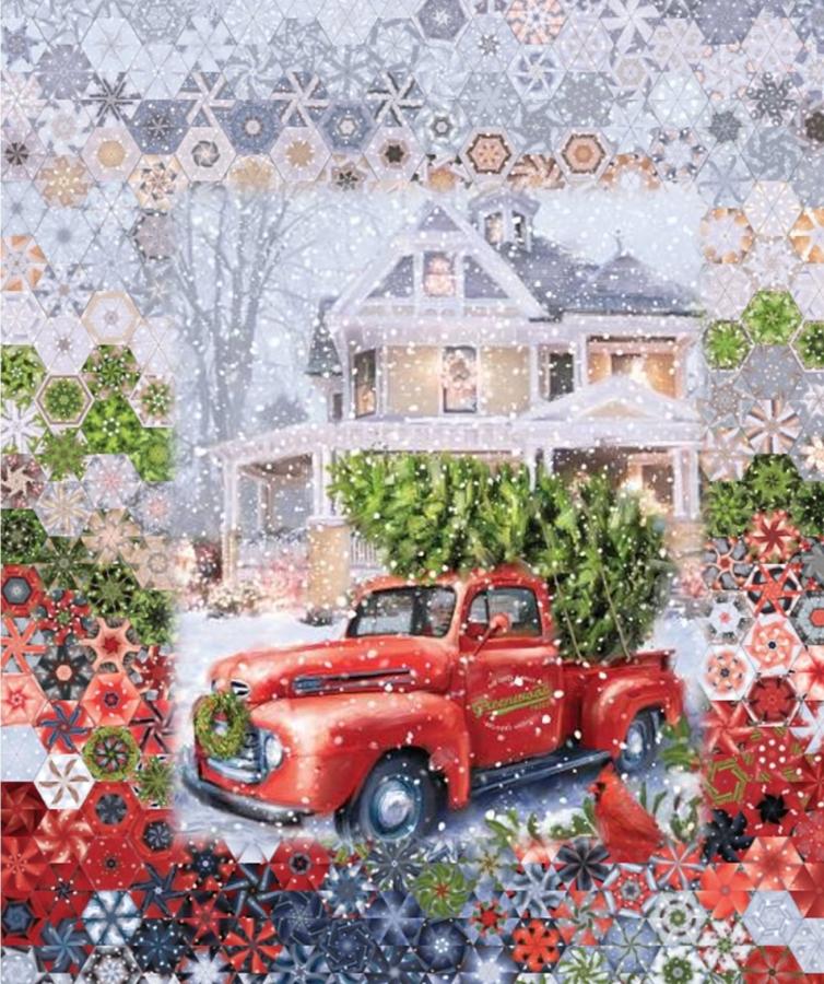 Stoffpaket: 7 Panels Christmas Delivery Digitaldruck von Riley Blake