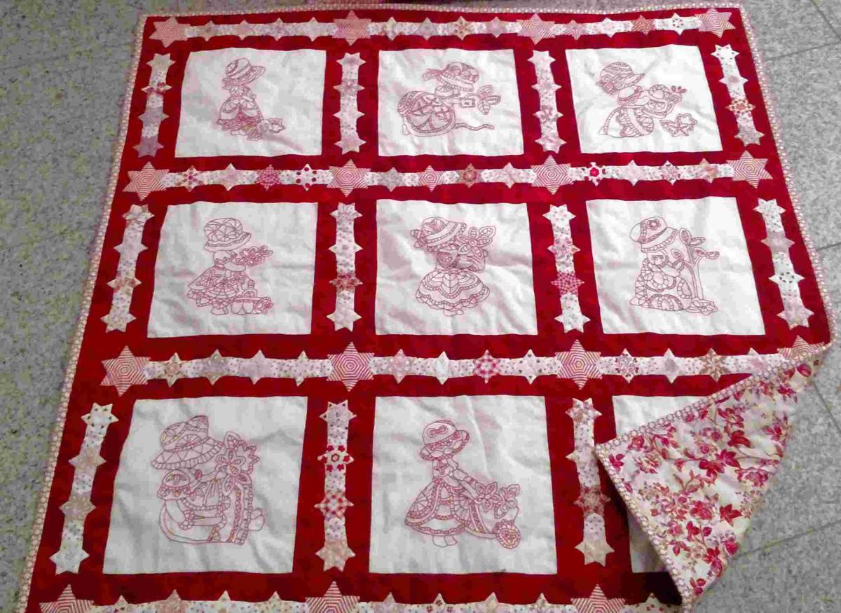 Redwork Quilt und Kissen - Anleitung