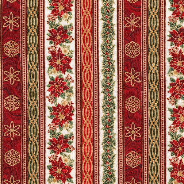 Robert Kaufman Holiday Flourish 11 - Bordüre rot-grün-gold